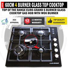 NEW 60cm Black Glass Top 4 Burner Gas Cooktop Wok Burner Hob Cast Iron Trivet