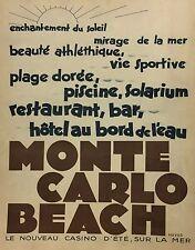 PUBBL.1931 MONTECARLO COSTA AZZURRA SPIAGGIA CASINO BAR RISTORANTI PISCINE MARE