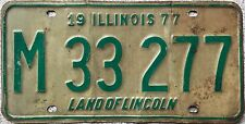 GENUINE 1977 Illinois Land of Lincoln USA License Licence Number Plate M 33 277
