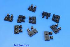 LEGO®  1x2 Platte vertikal / horizontal mit clip schwarz / 10 Stück