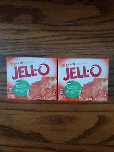 Jell-O Peach Gelatin Dessert Mix 2 Box Pack Free Shipping