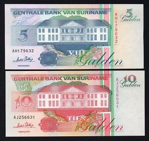Suriname - 5 And 10 Gulden 1996 Fds / UNC (2 Banknotes) A-10