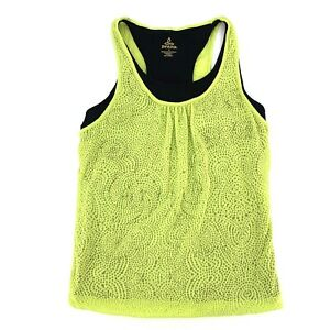 prAna Small Tank Top Mika Athletic Green Yoga Layered Burnout Stretch Relaxed