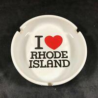 Ceramic White I Love (Heart) Rhode Island Souvenir Ashtray