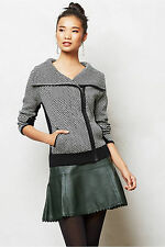 Anthropologie Cardigan Sweater Moto Jacket, Black Zip Front By Sparrow Size S