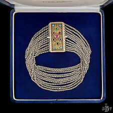 Antique Vintage Nouveau Sterling 800 Silver Austro Hungarian Paste Necklace!