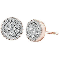 0.50 Cttw Round Cut Diamond Cluster Earrings 10K Solid Rose Gold
