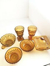 Set 6 VTG Indiana Amber Glass Candy Bowl W Handle Footed Candy Dish Wine Goblet