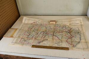 Rare Antique 1860 Desilver's New Map of Pennsylvania  Pocket Original Civil War