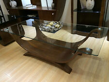 Walnut Coffee Table Designer Italian Style Clear Glass Modern and Stylish