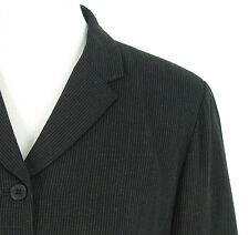 Ann Taylor Loft Petite Blazer Sz 10P Black Pinstripe All Season Wool Jacket
