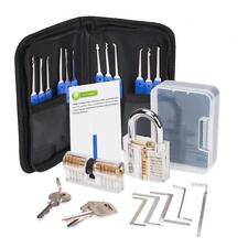 Torque Wrench Lock Pick Set Transparent Locksmith Practice Padlock 12 Picks &5