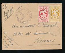 FRENCH AFRICA AEF 1940s AIRMAIL PHOENIX BIRD...GABON INFANTRY TIRAILLEUR CACHET