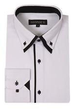 New mens' dress shirt double collar two toned Italian design  White/Black #AH618