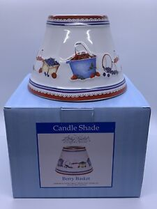 Candle Capper Ceramic Shade - Berry Baskets Strawberry By Kathy Hatch  - New