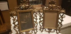 """Set of Antique Victorian Picture Frame Cast Iron Metal Ornate 12"""" Tall 6x4 pic"""