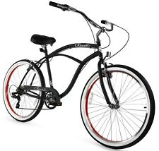 Zycle Fix Classic Beach Cruiser Men 7 Speed Bicycle Bike Black Red NEW