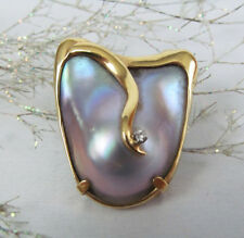 14K Yellow Gold High-Quality 30mm Mabe Blister Pearl Diamond Pendant Brooch