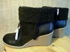 BASS CAROL WOMEN'S  WINTER WEDGE BOOTS LEATHER BLACK NEW W/O BOX  SIZE 10 M