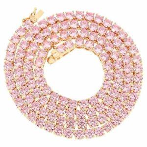 Unisex Lab Diamonds 4mm 1 Row Tennis Necklace 14K Rose Gold Finish Pink 22 inch