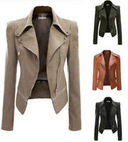 Women's Autumn Winter PU Leather Bomber Biker Jacket Coat Punk Zipper Slim Tops