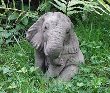 STONE GARDEN CUTE SITTING BABY ELEPHANT LUCKY ORNAMENT