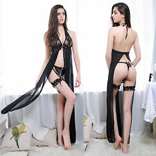 Sexy Lingerie Nightgown Lace Sleepwear Night Gown Robe Long Dress G-String Set