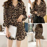 Plus Size Women Leopard Printed T Shirt Ladies Long Sleeve Blouse Top  M-XXXXL