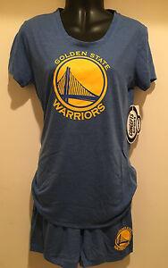 Golden State Warriors Ladies 2 Piece Sleep Set -  S/S Top & Short Sleep Set -NBA