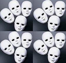 Lot of 24 MASKS White Plastic Full Face Decorating Craft Halloween School