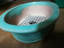Bonsai Pot 4in. Oval Vintage age New never Sold Lt Green Glaze Feet & Draine* ☑�