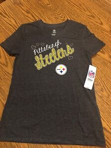 Pittsburgh Steelers NFL Youth Girls' Gray Short Sleeve T-Shirt, Small (7/8) NWT