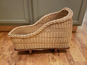 Vintage Plastic Woven Wicker Rocking Doll Cradle Bassinet Crib