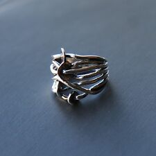 Sterling silver String Tangle Ring (Size: 7,US - O,UK) by Lepos Jewellery