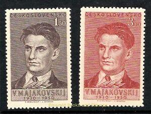 EBS Czechoslovakia 1950 - Vladimir V. Mayakovsky - Michel 608-609 MNH**