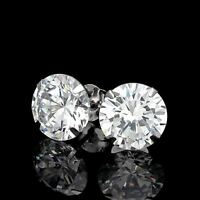 6CT CREATED DIAMOND MARTINI EARRINGS 14K WHITE GOLD SOLITAIRE LIGHT PRONG STUDS