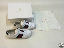 Nueva En Caja Gucci Blanco Verde Niños Zapatos Talla 26 Made in Italy. Inc Bolso del zapato