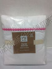 Pottery Barn Teen PBT Pop Dot Embroidered Bed Sheets Set Bright Pink Queen