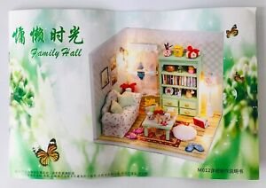 DIY Dollhouse Room Box Living Room Miniatures Kit 14 yrs & Up w/ Dust Cover