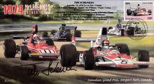 1974 MCLAREN-COSWORTH FERRARI 312B3 MOSPORT PARK F1 cover signed TIM SCHENKEN