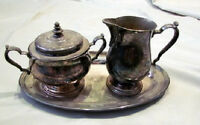 Vintage Oneida Silverplate Creamer & Sugar Bowl with a Tray