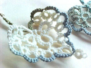 2 Tatted Bookmarks Heart to Heart  Multi Blue Cream Lacey Dove Country Tatting