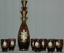 Vintage Murano Purple Amethyst Glass Decanter W Raised Floral Design & 8 Glasses