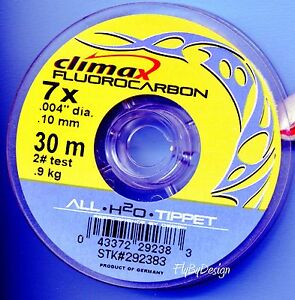 Climax Crystal Clear 7x (2 Lb. test) Fluorocarbon Fly Fishing Tippet Material