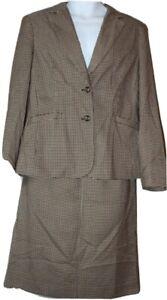 Chadwick's suit size 12 women's 2 piece skirt blazer set brown houndstooth  New