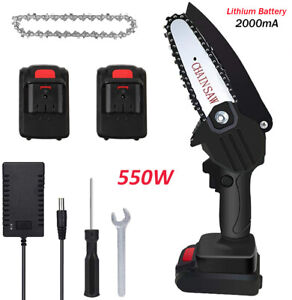Cordless Mini Chainsaw Branch Tree Woodworking Cutting with Battery Charger 550W