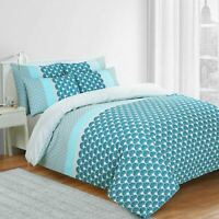 Azure 100% Cotton Cosy Blue Duvet Cover Bedding Set Single Double King Size