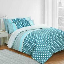 Azure 100% Cotton Cosy Blue Duvet Cover Bedding Set Single Double King Size