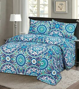 Queen Size 4 Piece Sheet Set Bamboo Style Deep Pocket Fade Resistant Blue White