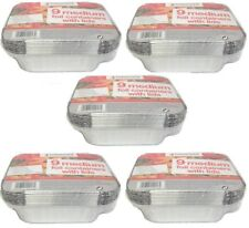 45 Medium Aluminium Foil Hot Food Oven Baking Dish Container Takeaway Tub & Lid